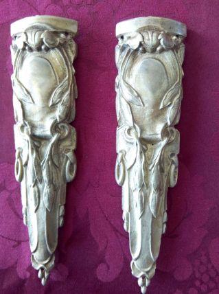 2 décorations de pied de meuble Bronze doré Hauteur 19 cm