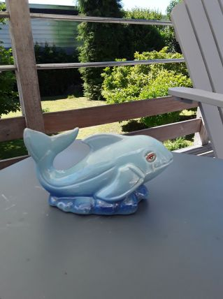 Baleine en céramique vintage