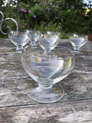 Série de 6 verres à vin en cristal ciselés 1950