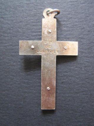 Ancienne croix en Métal + Nacro couleur BLEU