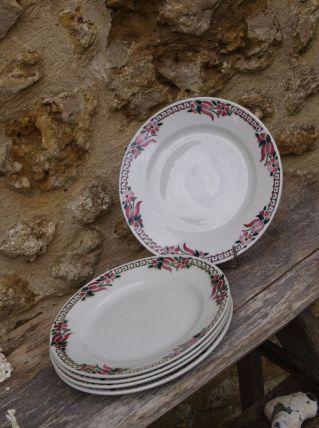 5 Assiettes vintage Céranord St Amand crème & rose