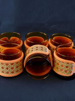 Lot de 6 verres ambrés en rotin et feutrine orange 1970