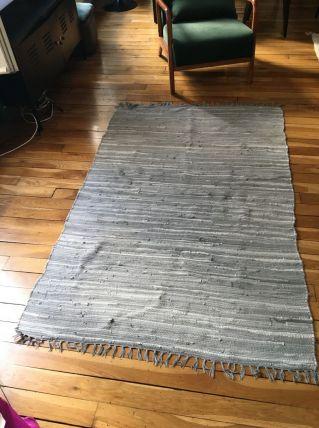 Tapis tissé à main coton gris