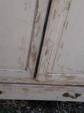 Armoire début XXeme,  en pin patiné,  2 portes et tiroir