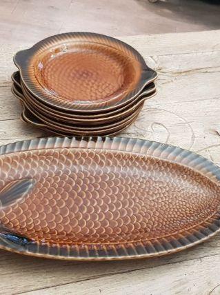Ensemble service à poissons sarreguemines, vintage, 9pièces