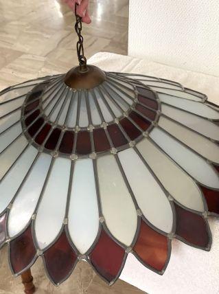 Suspension luminaire vitrail fait main. Blanc et rouge
