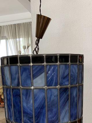 Lampe suspension cylindre vitrail. Bleu, noir et gris
