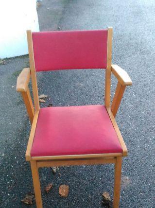 4 chaises skaï rouge