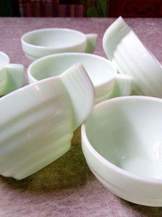 6 Tasses vintage vert d'eau