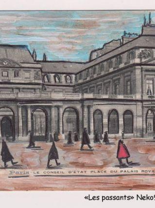 """""""Les passants"""" dessin sur une carte postale début du 20e"""