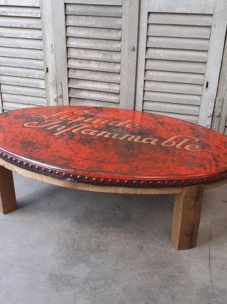 Incroyable table basse cuve rivetée début du siècle Design