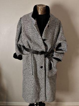 Manteau vintage L overside loose laine tweed chevron