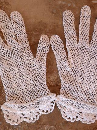 Gants anciens  crochet coton taille 6