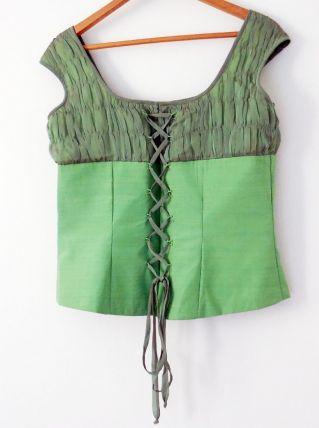 Top Bustier vert vintage