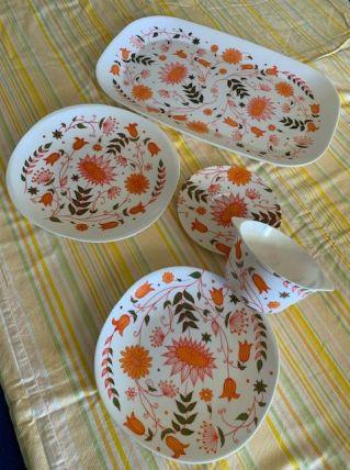 Vintage 70' Mélamine Coraline lot 5 pièces tasse assiettes