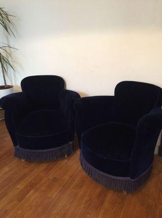 Paire de fauteuils Crapauds Bleu Nuit