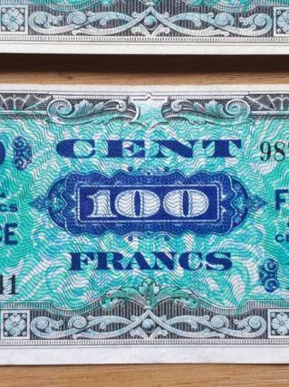 Lot de 25 billets de 100 Francs 1944