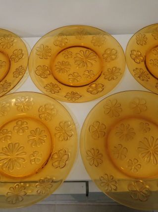5 assiettes plates vintage en verre orange