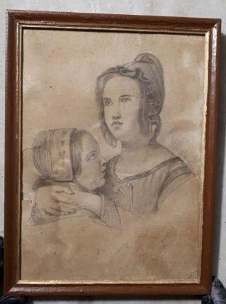 Tableau dessin Madone à l'enfant
