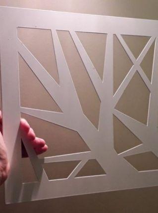 Pochoir acier laqué blanc