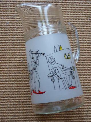 carafe en verre dessin d'orchestre de jazz