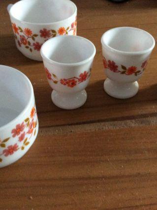 Tasses et coquetiers fleurs Arcopal