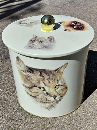 Boîte en fer motifs chats