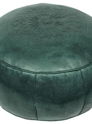 Pouf Fes vert en cuir fait main  40 X 25 cm