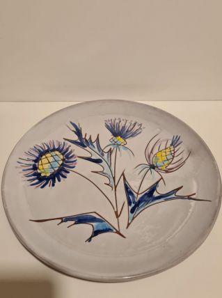 Assiette Vallauris Décor Chardons bleus fait main