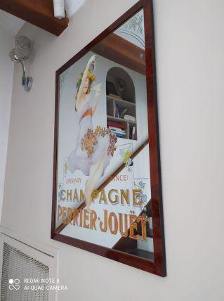 Très beau miroir publicitaire  champagne Perrier jouet