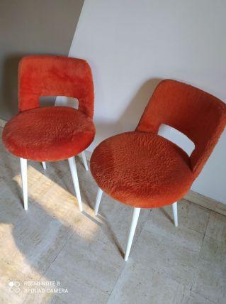 Paire chaises moumoute traineau orange année 60-70 en bon ét