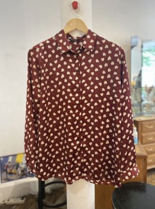 Chemise vintage à motifs cœurs