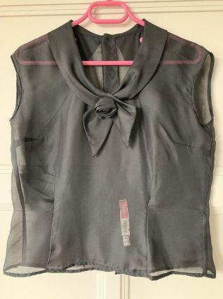 Haut noir Vintage en voile transparent