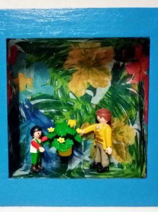 Cadre Playmobil bleu, personnalisable, plante