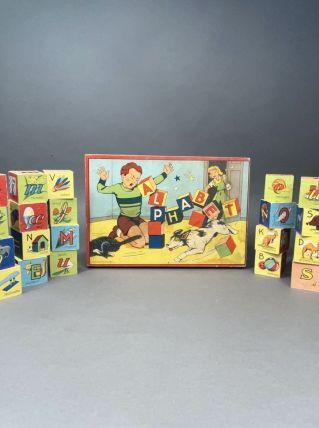 Ancien jeu de cubes alphabet