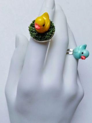 Bague réglable petit canard bleu ciel enfant, adulte