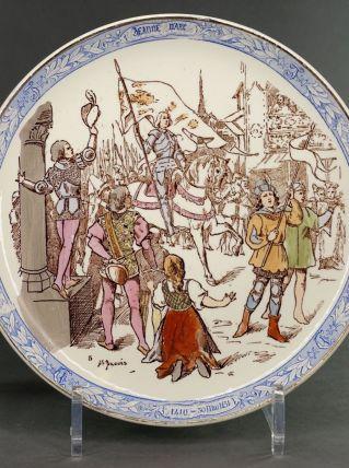 Assiette Jeanne d'Arc Faïence Creil et Montereau