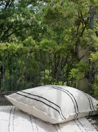 Housse de pouf + rembourrage - 140 x 140 cm - Blanc et noir