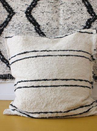Housse de pouf + rembourrage - 90 x 90 cm - Blanc et noir