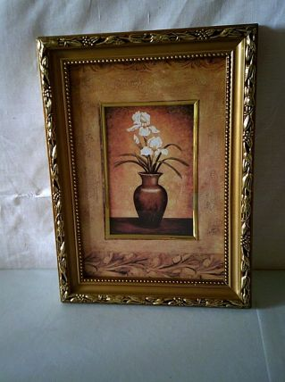 Tableau doré  bouquet de fleurs