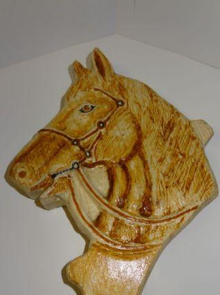tete cheval scultée avec patere bois ou acier