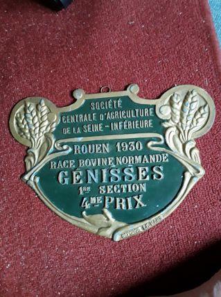 Grande plaque de prix agricole ancienne 1930