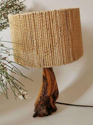Lampe vintage de style brutaliste bois et corde
