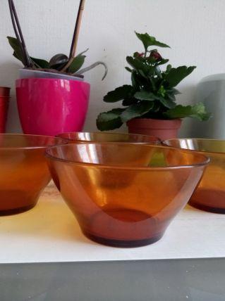 Lot de 4 bols en verre Duralex orange/ambré vintage