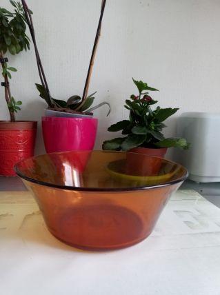 Saladier en verre trempé orange Duralex années 60'/70's