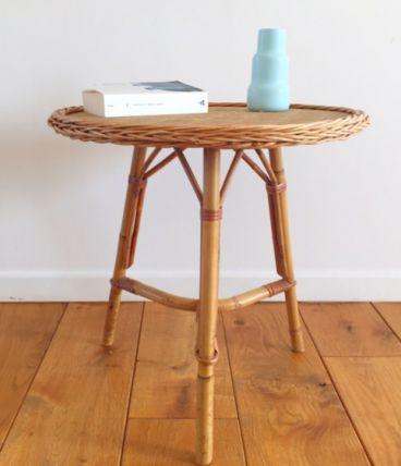 Table basse tripode en rotin vintage 70 – Luckyfind