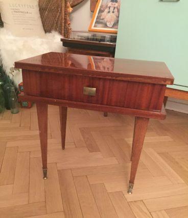 Table de chevet ou d'appoint scandinave pieds compas vintage