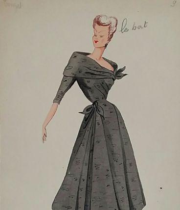 Croquis Mode 1950 série de robes Beige/Brun suite