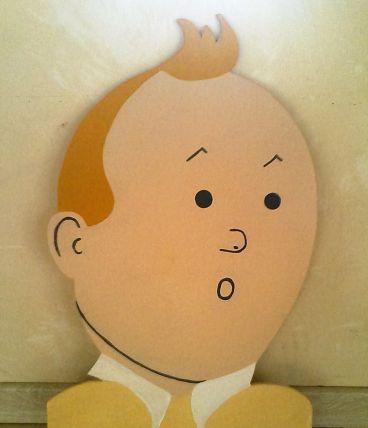 Silhouette Tintin découpée Bois et peinte