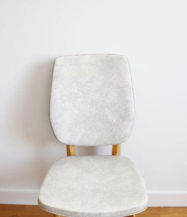 Chaise vintage scandinave pieds compas en skaï effet marbré 70s